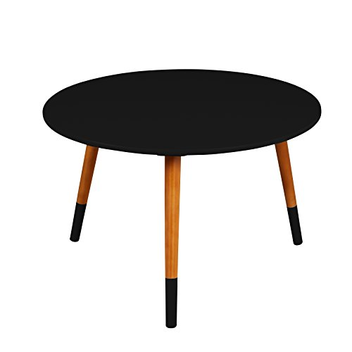 Target Marketing Systems Livia Collection Ultra Modern Round Coffee Table With Splayed Leg Finish, Black/Wood ()