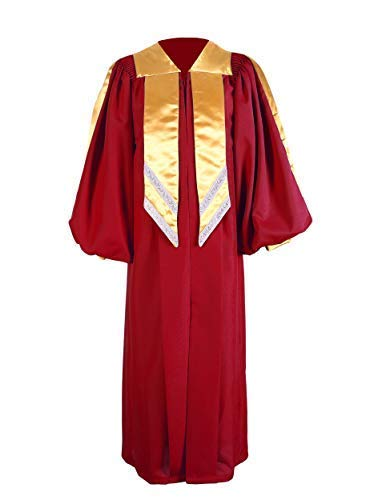 GraduationService Unisex Deluxe Premium Crescendo Choir Robe Cuff Sleeves with Gold Hanging Stole ()
