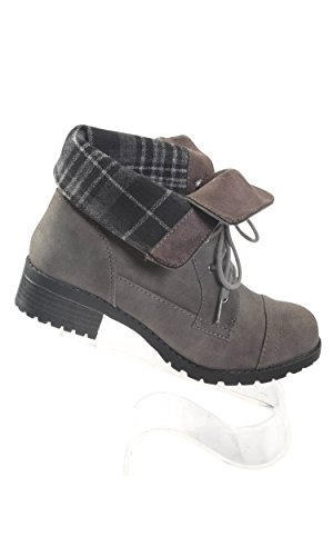 print Women's Hadari Frontal Stitch foldover with plaid Lace Boots 8O1dZq