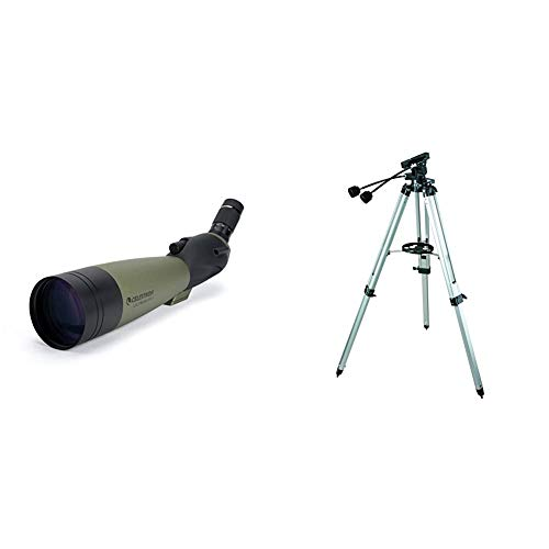 Celestron – Ultima 100 Angled Spotting Scope – 22 to 66x100mm Zoom Eyepiece – Multi-Coated Optics for Bird Watching, Wildlife, Scenery – Includes Soft Carrying Case & Heavy-Duty Altazimuth Tripod