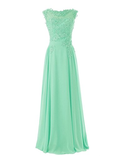 Women's Floor length Appliques Bridesmaid Formal Chiffon Evening Gowns Mint Size 12