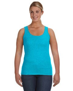 (Anvil Ladies Ringspun Tank, CARIBBEAN BLUE, Large )