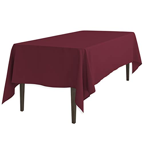 LinenTablecloth 60 x 126-Inch Rectangular Polyester Tablecloth Burgundy]()