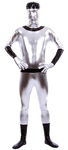 Marvoll Shiny Metallic Sliver and Black Full Bodysuit Zentai Costume (Medium, Silver)