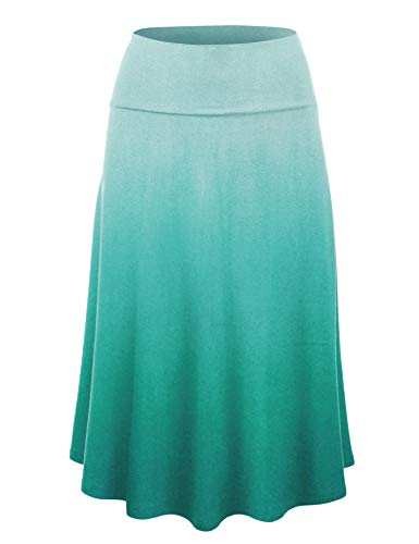 (Lock and Love LL Womens Ombre Fold Over Flared Midi Skirt XXXL Teal)