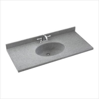 Swanstone CH022612B.042 Chesapeake Solid Surface Double-Bowl Vanity Top 61-in L X 22-in H X 6.125-in H Gray Granite ()