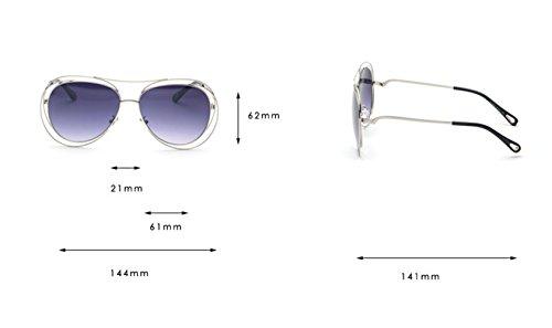 Bluepink redondas Z transparentes gradiente tamaño gran y Silver de sol planas huecas altura marco de mm Silver de 62 blancas amp;Whiteflat amp;HA de de Gafas arcoíris metal lentes wrnrq8I4
