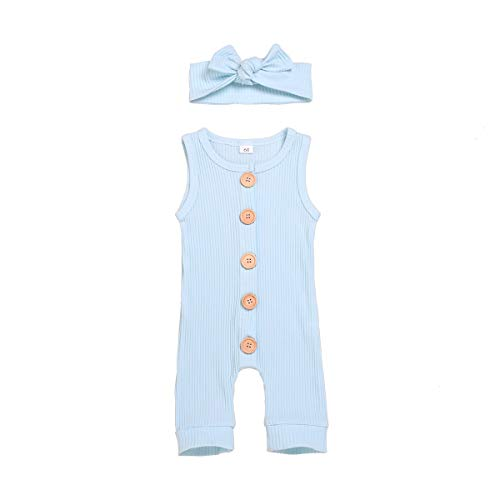 YOUNGER TREE Newborn Toddler Baby Girls Boys Solid Colour Bodysuit Romper Jumpsuit + Headband 2PCS Clothes Sets (6-12 Months, B-Blue)