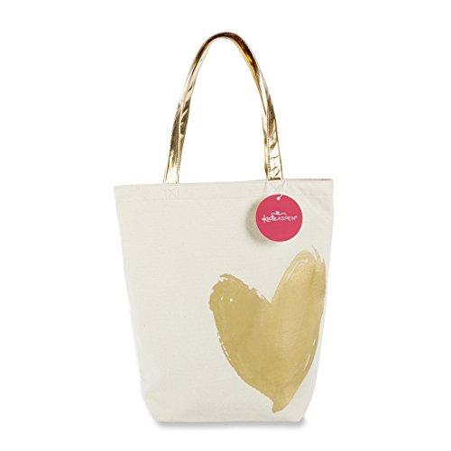 Kate Aspen Metallic Gold Heart Tote Bag - Heart Tote Bag