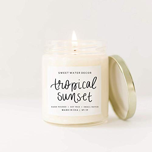 Tropical Sunset Natural Soy Wax Candle Orange Pineapple Tonka Rum Scented Summer Candle Home Decor Bathroom Accessories Relaxation Fruit Candle Bathroom Accessory Made in USA Lead Free Cotton Wick