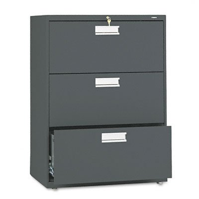 HON 673LS 600 Series 30-Inch by 19-1/4-Inch 3-Drawer Lateral File, Charcoal