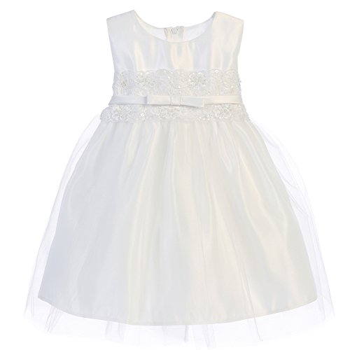 White Satin Tulle Dress - 6