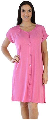 bSoft Women's Sleepwear Bamboo Jersey Button Up Short Sleeve Sleepshirt, Solid Pink (BSBJ1815-1022-S/M)