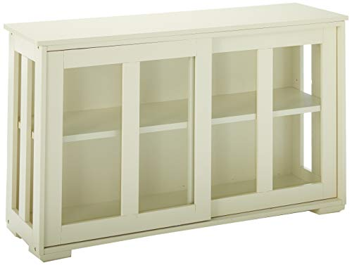 TMS Pacific Stackable Storage with Glass Door Antique White