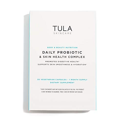 TULA Probiotic Skincare Daily Probiotic & Skin Health Complex | Women's Daily Probiotic, Digestive & Skin Health Supplement |10 billion CFU & Ceramide & Antioxidant, 3 Strains | 30 Vegetarian Capsul
