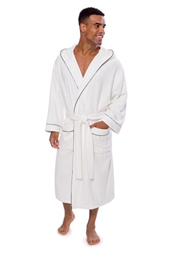 White Clothing Hood (Texere Men's Terry Cloth Hooded Bathrobe (Eklips, Natural White, L/XL) Soft Robe)