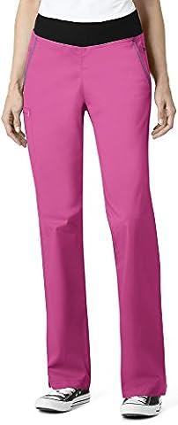 7Flex By Wonderwink Women's Stretch Waistband Cargo Scrub Pant Medium Hot Pink - Hot Pink Scrub Pants