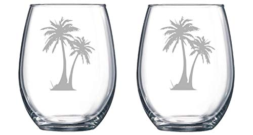 Palm Tree set of 2 Etched Stemless Wine glass, Pint Glass, Stemmed wine Glass, Rocks glass, Pilsner or Nonic Pint glass