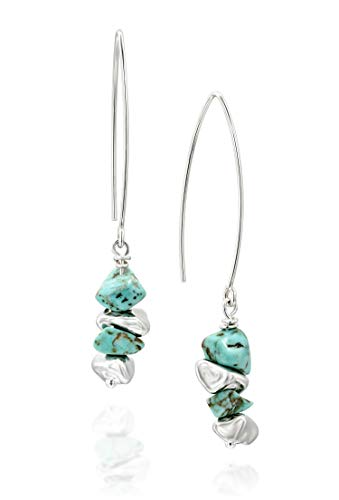 Women's 925 Sterling Silver Long Wire Threader Howlite Gemstone Earrings with Free Form Silver Beads
