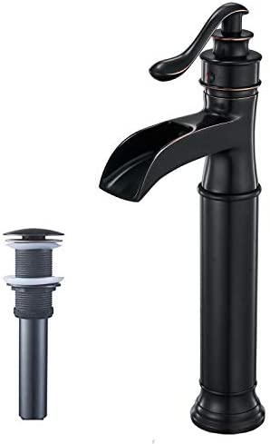 Bathfinesse Waterfall Bathroom Vessel Sink Faucet Commercial Single Handle Lever One Hole Oil Rubbed Bronze Black Faucets with Pop Up Drain Without Overflow