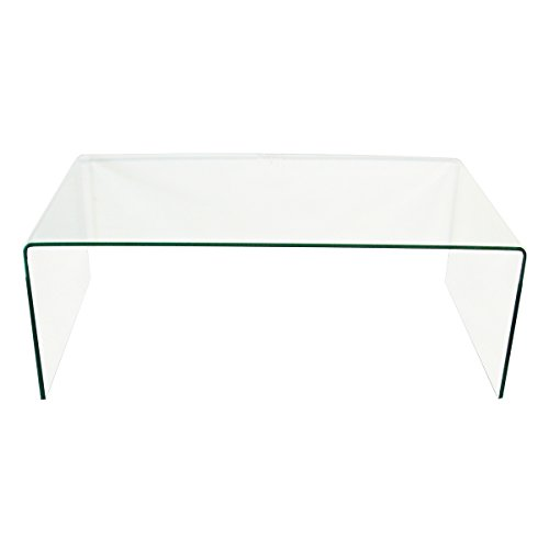 Fab Glass and Mirror Bent Glass Coffee Table, 3/8