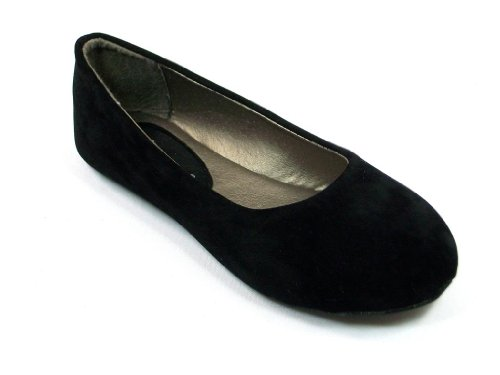 New Black Toddler Youth Girls Suede Round Toe Slip on Baller