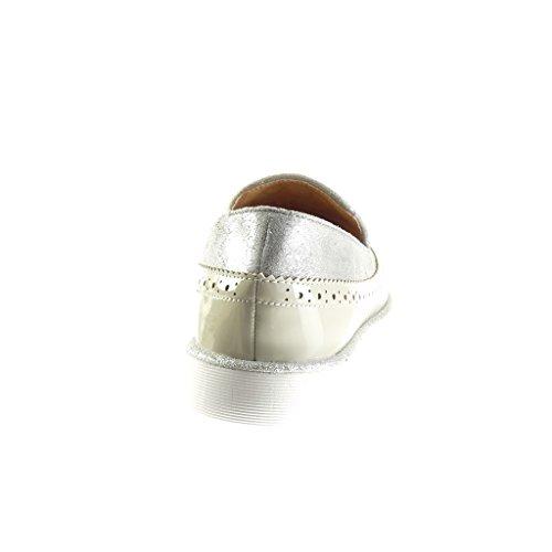 Angkorly - Zapatillas de Moda Mocasines slip-on bimaterial mujer fleco pompom perforado Talón Plataforma 2.5 CM - Gris