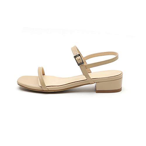 Pretty-Shop sandals Women Sandal Square Middle Heel Comfortable Cow Leather Square,Apricot,8