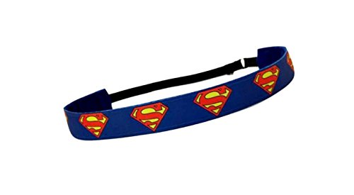 RAVEbandz Exclusive Fashion Headbands (SUPERMAN) - Adjustable, Non-Slip Sports & Fitness Hair Bands for Women and Girls