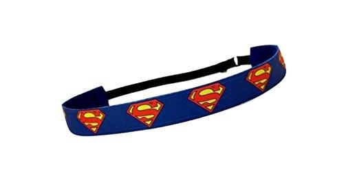 RAVEbandz Exclusive Fashion Headbands (SUPERMAN) - Adjustable, Non-Slip Sports & Fitness Hair Bands for Women and Girls