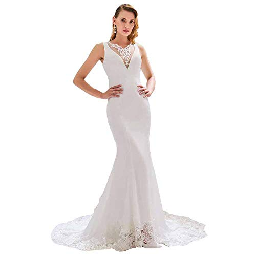 Seasail Elegant V Neck Wedding Dress Mermaid Appliques Button Lace Floor Length Bridal Trumpet Wedding Dresses White 16W
