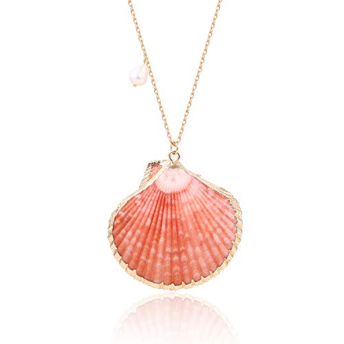 BOUTIQUELOVIN Large Clam Shell Long Necklace Orange Scallop Seashell Pendant Boho Women Jewelry for Summer Vacation