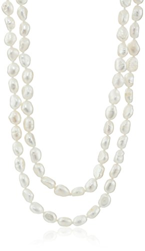 6-7mm White Baroque Freshwater Cultured Pearl Endless Necklace, - Gray Pearl Necklace