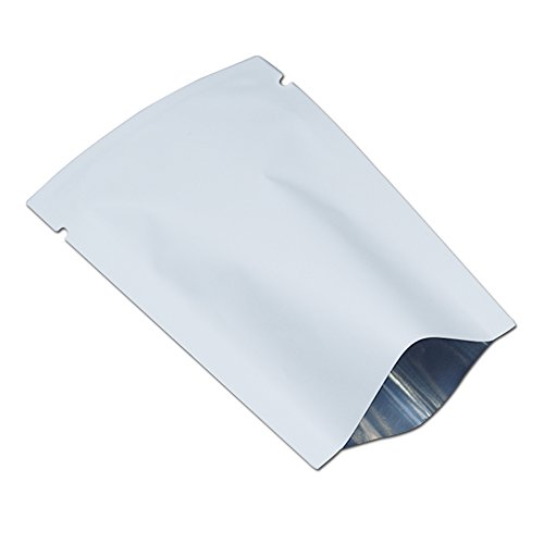 100 Pcs Flat Open Top Bags Aluminum Mylar Foil Glossy Matt Small Sizes Double Sided Colored Food Storage Vacuum Sealable Pack Smell Proof Package 6x9cm (2.4x3.5