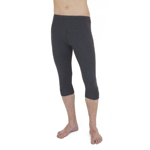 Mens Thermal Underwear 3/4 Length Long Johns (British Made) (Waist: 32-32inch (Small)) (Charcoal)