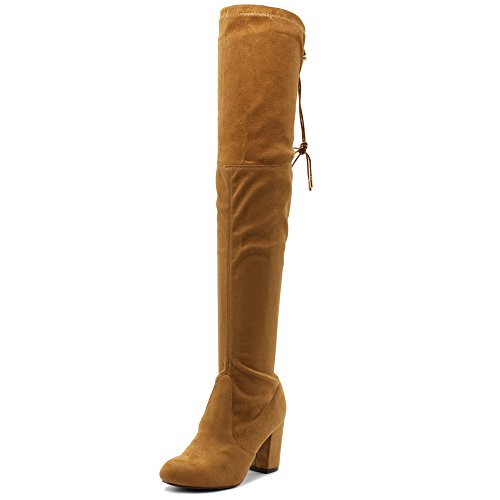 Ollio Women Shoe Drawstring Stretch Faux Suede Over The Knee Stacked Heel Long Boots TWB06(8 B(M) US, Camel) ()