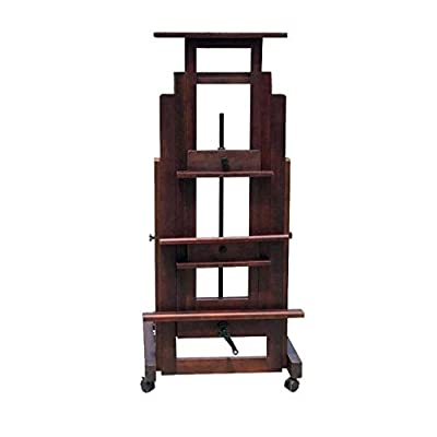 BHDYHM Easel Painting Tool Red Enamel Wooden Oil Painting Stand One Hand Rocker Adjustable Large Easel Professional Lifting Easel