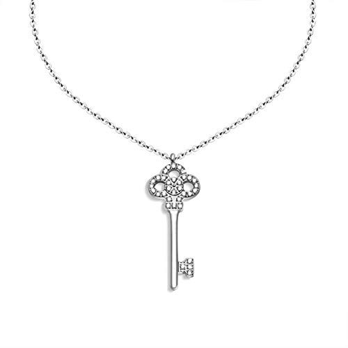 (Chenghao 18K Gold Plated 316L Stainless Steel Lucky Key Pendant Necklace Crystal (ch000003) (Silver))