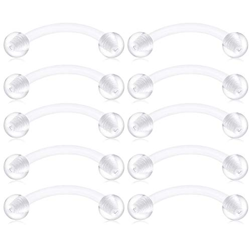 JFORYOU 10PCS Clear Bioflex Acrylic Curved Barbell Belly Button Rings Snake Eyes Tongue Ring Retainer Piercing 14G 16mm