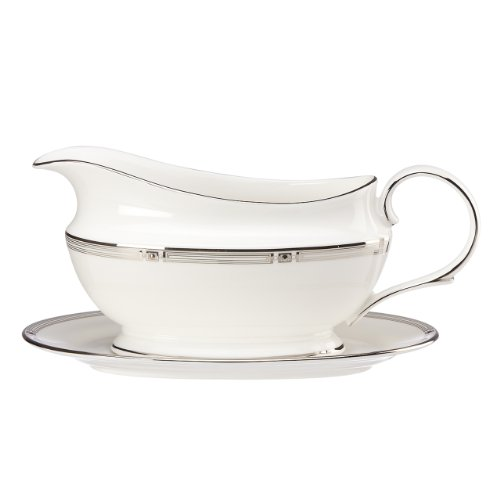 (Lenox Westerly Platinum Sauce Boat and Stand, White)