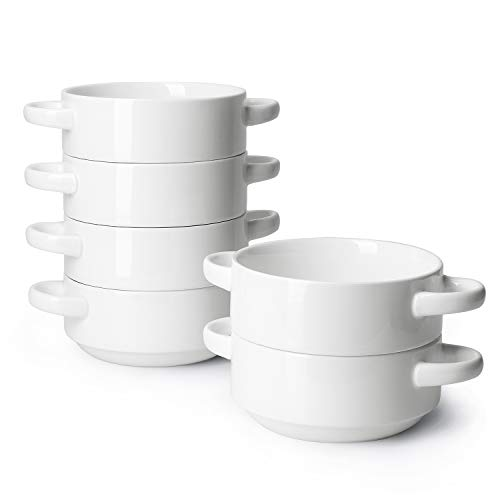 Sweese 108.001 Porcelain Bowls with Handles - 20 Ounce for Soup, Cereal, Stew, Chill, Set of 6, White