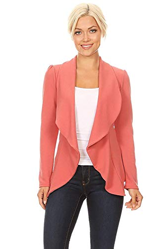 Instar Mode Solid Formal Style Open Front Long Sleeves Blazer - Made in USA Dusty Rose 2XL