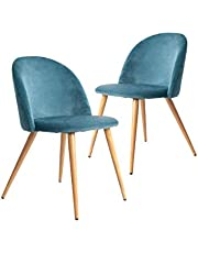 CangLong Dining Set of 2, Mid Century Modern Kitchen Velvet Upholstered Accent Leisure Chairs, Blue