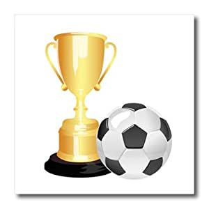 Anne Marie Baugh - Soccer - A Soccer Ball and Soccer Trophy Illustration - 8x8 Iron on Heat Transfer for White Material (ht_235766_1)