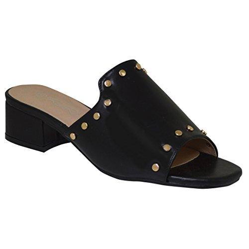 Sandal Summer Ladies Upper Stud Mule Black Gold Ciara Slip On 8Px55aq