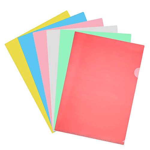 - Plastic File Folder,12 Pack Transparent L-Type Clear Paper Jacket Sleeve Folders,Copy Safe Project Pockets Plastic Sleeves for Letter Size Paper in Assorted Colors,Paper Holders Orgnizer (A)