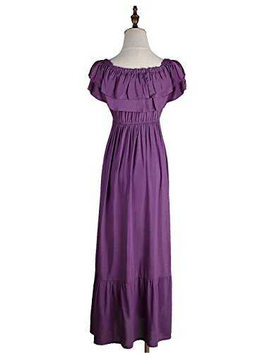 Anna Peasant Stretchy Womens Short Purple Sleeve Kaci Long Maxi Ruffle Dress Boho rnX5tgrwxq