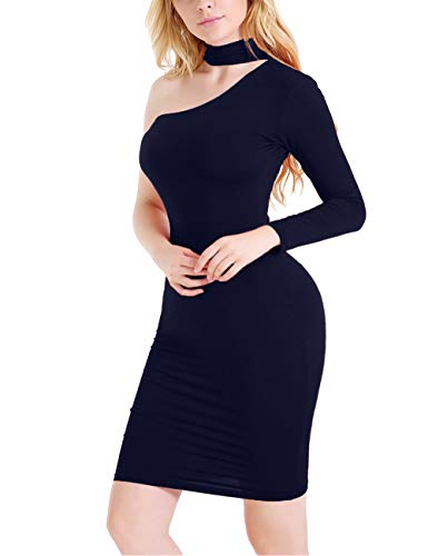 NAFOUR Women's Halter One Shoulder Off Dress Bodycon Zipper Long Sleeve Cocktail Club Mini ()