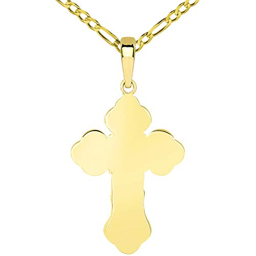 Solid 14k Yellow Gold Orthodox Silhouette Cross Pendant with Figaro Chain Necklace, 24