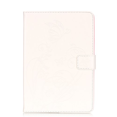 IPAD Mini 1 2 3 Case, Butterfly Flowers Embossed Case, Solid Color PU Leather Case Flip Stand Case with Cash Card Holders Detachable Case for IPAD Mini 1 2 3 Clear case (Color : White-IPad MINI123)